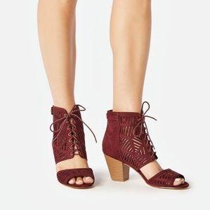 Just Fab Dress Sandal Christina, Burgundy 7.5